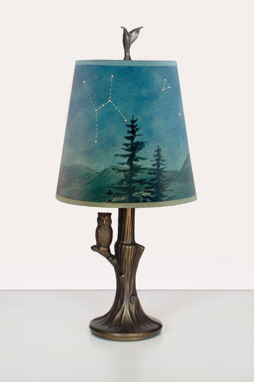 Bronze Owl Lamp with Small Drum Shade in Midnight Sky Lit