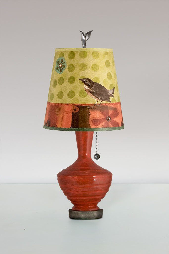 Red Ceramic Table Lamp With Small Drum Shade In Citrus Bird