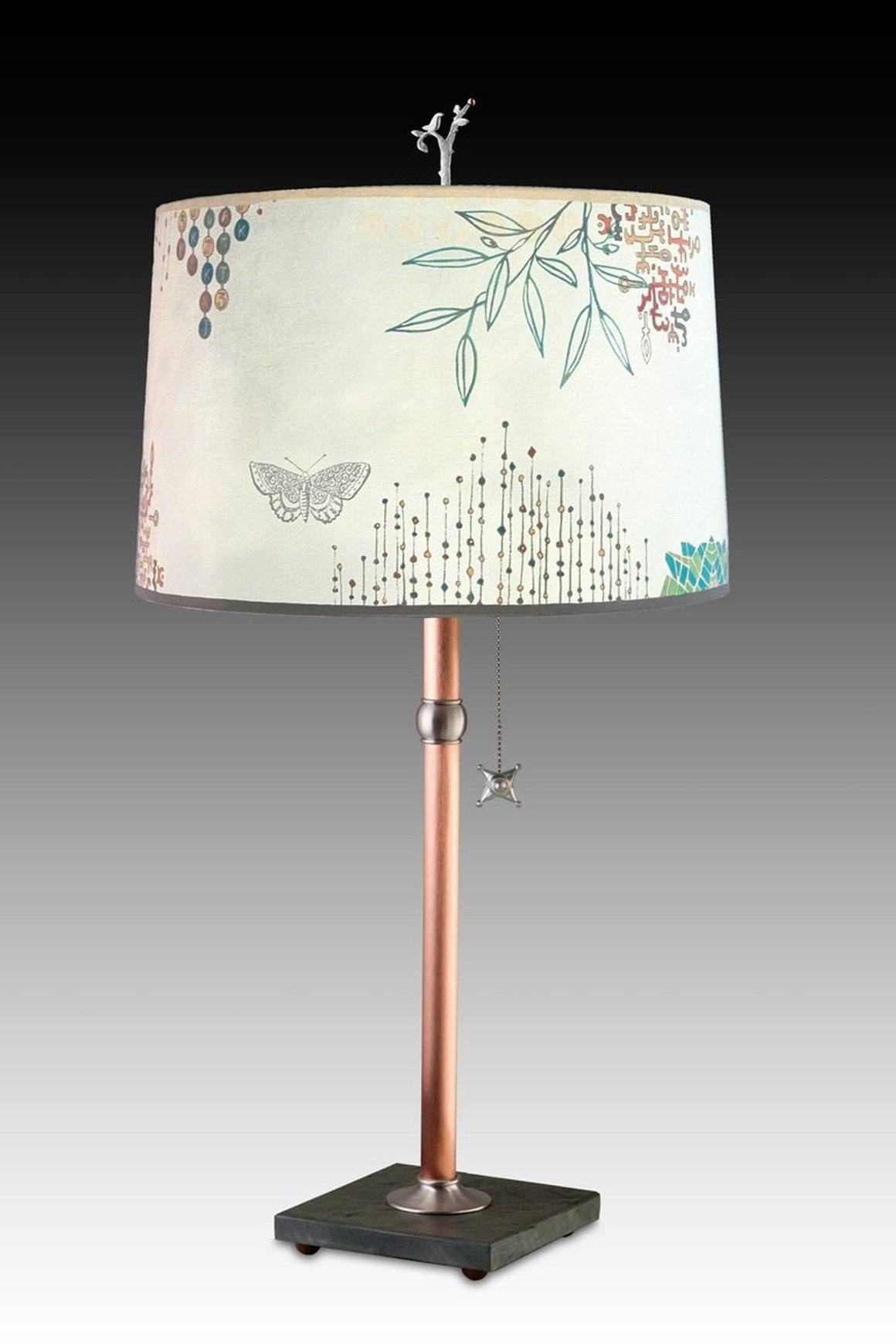 Copper Table Lamp with Large Drum Shade in Ecru Journey