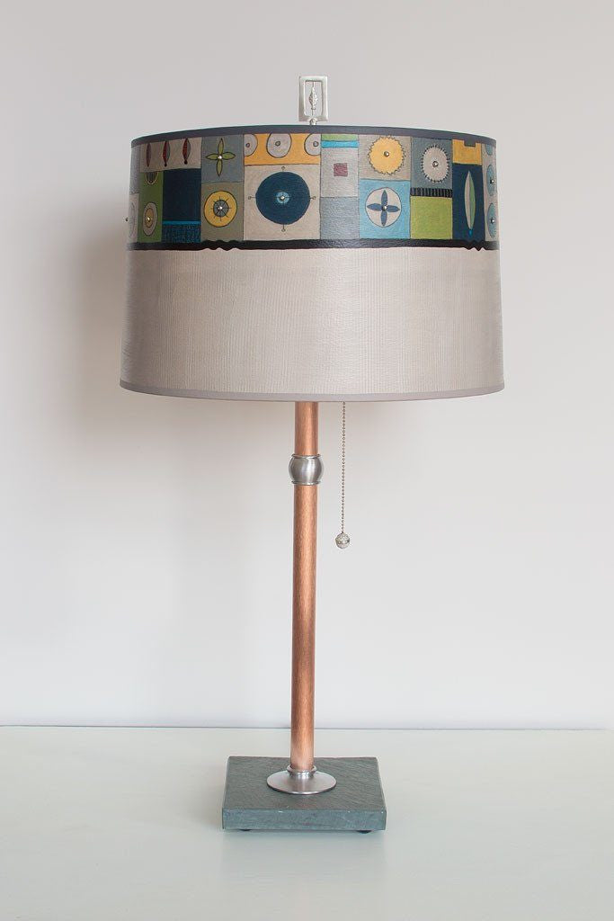 Lucky Mosaic Oyster Table Lamp with Large Drum Shade