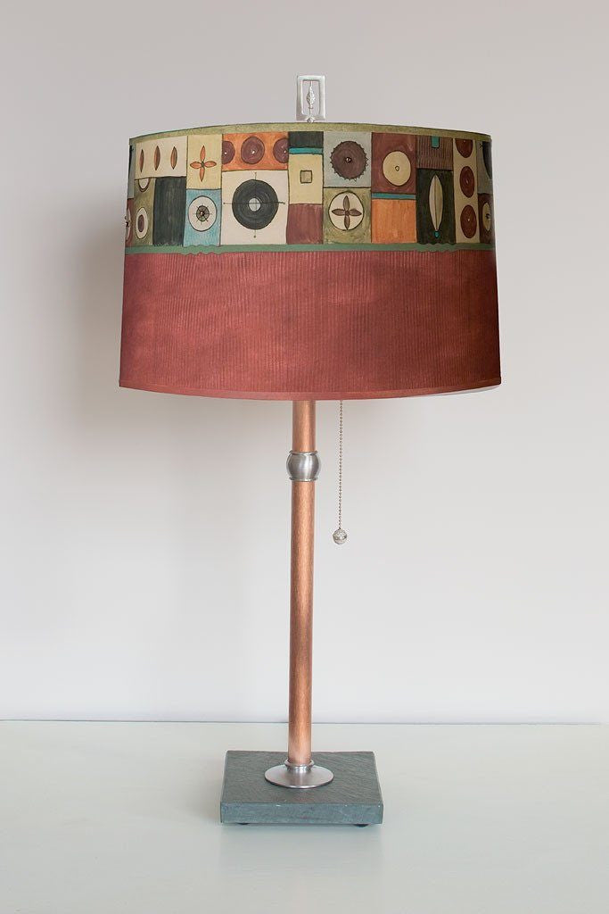 Lucky Mosaic Maroon Table Lamp with Large Drum Shade