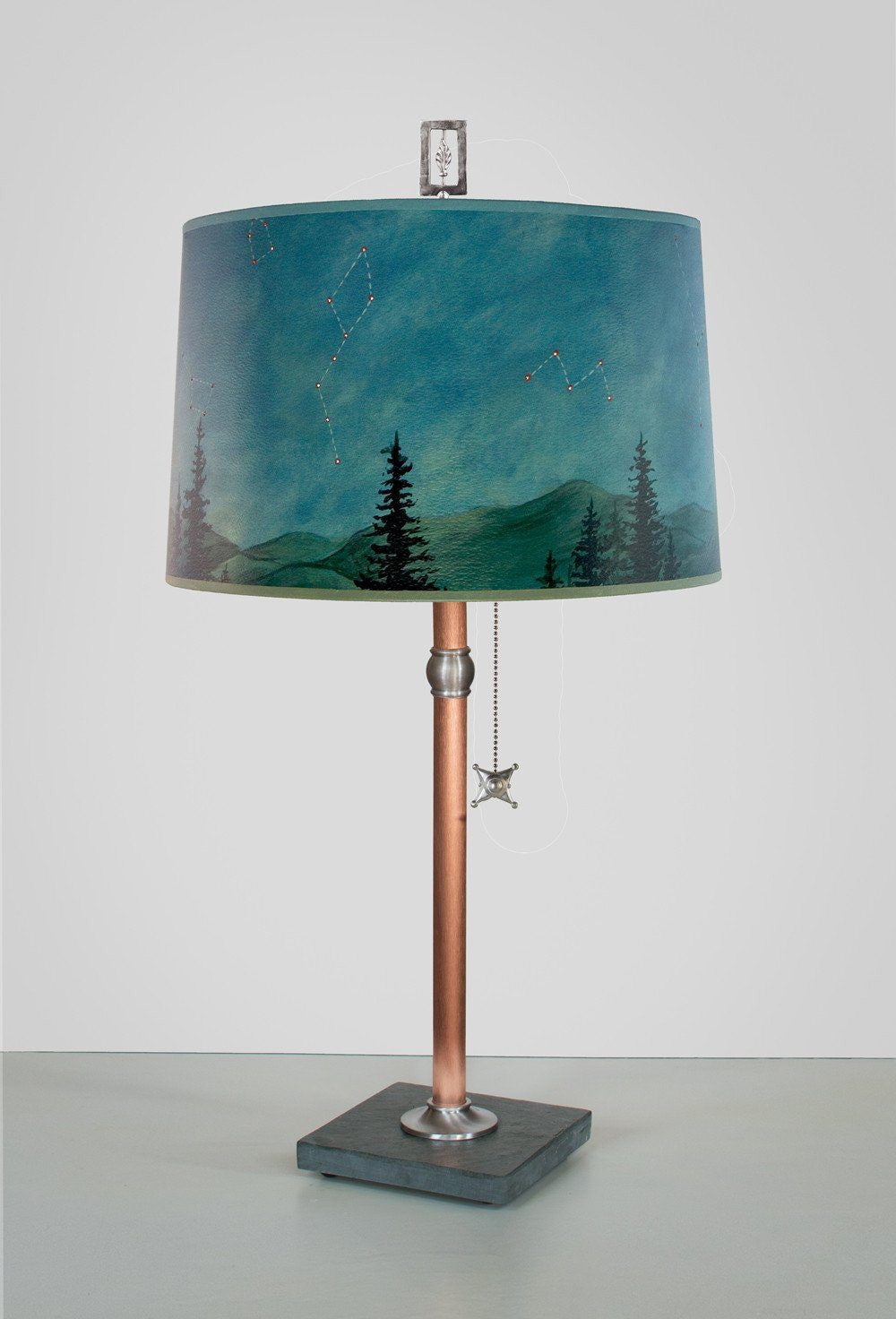 midnight sky large drum copper table lamp lit