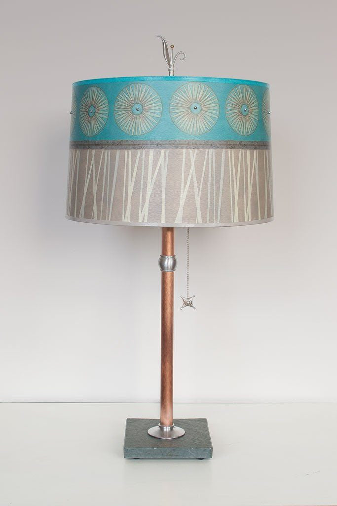 Copper Table Lamp with Large Drum Shade in Pool