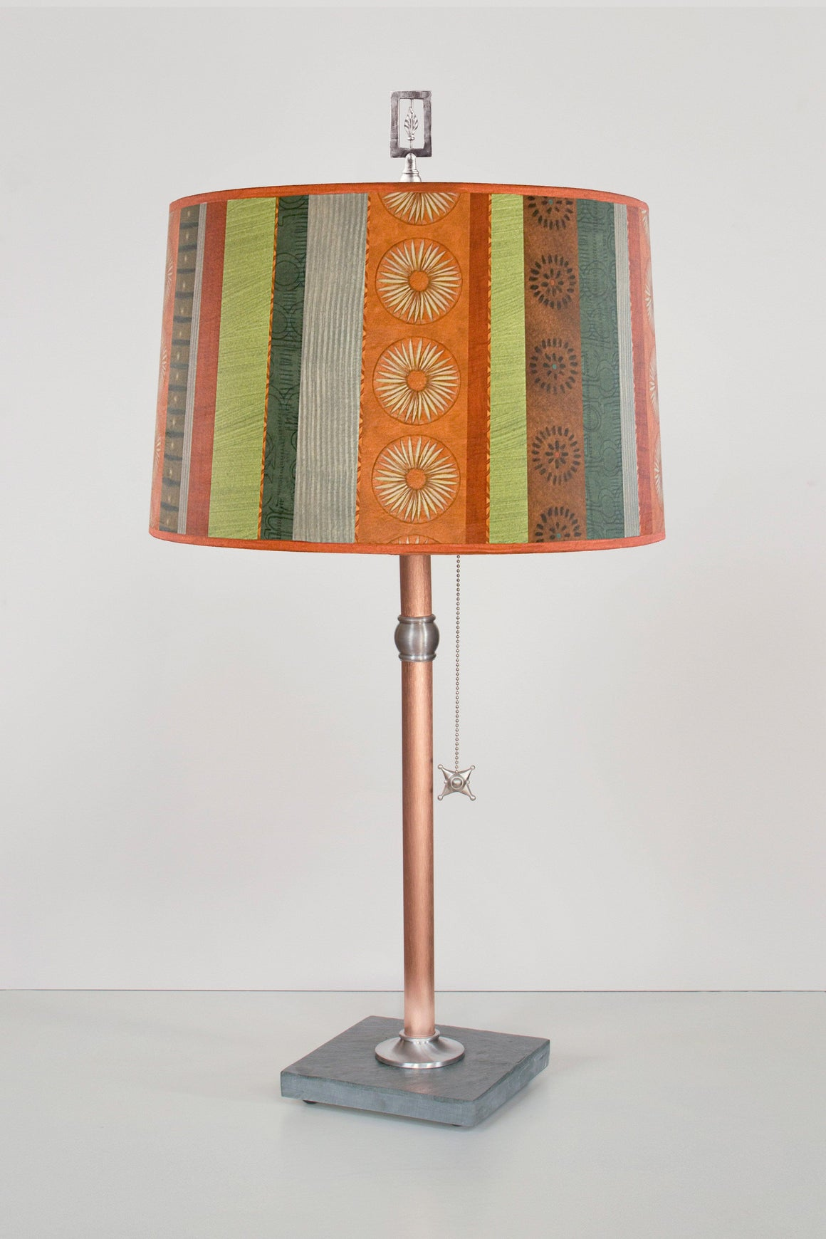 Copper Table Lamp with Large Drum Shade in Serape off