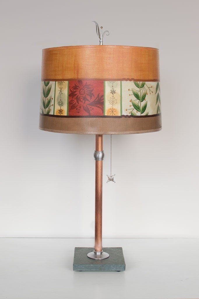 Copper Table Lamp with Large Drum Shade in Spring Medley Spice