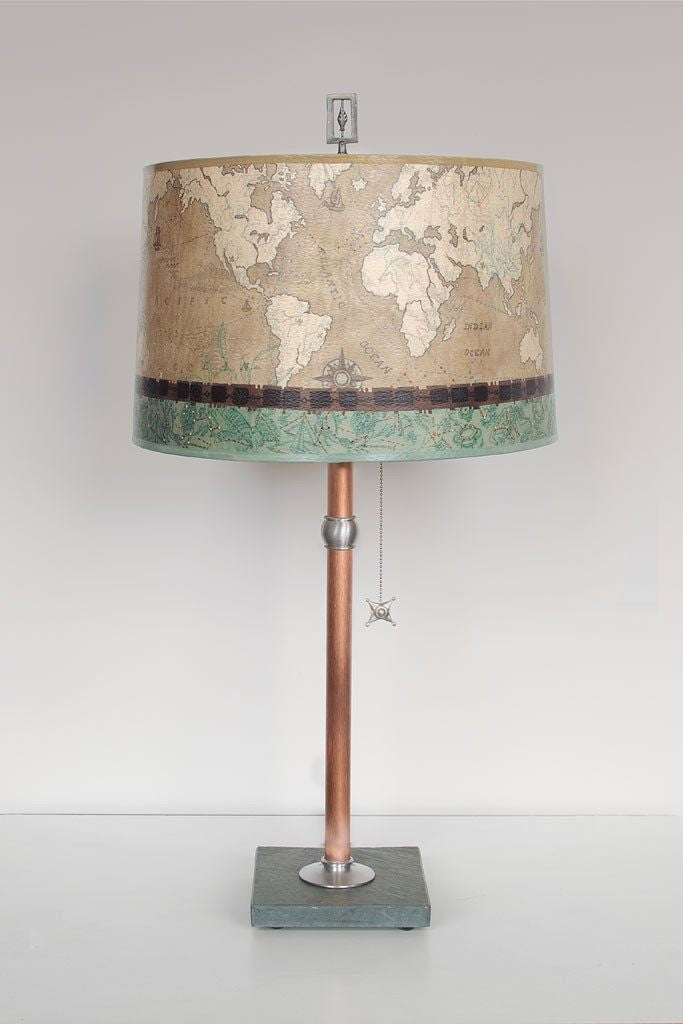 Copper Table Lamp with Large Drum Shade in Sand Map
