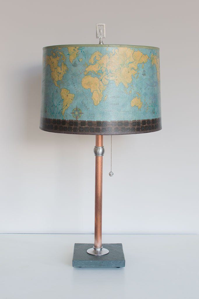 Copper Table Lamp with Large Drum Shade in Map