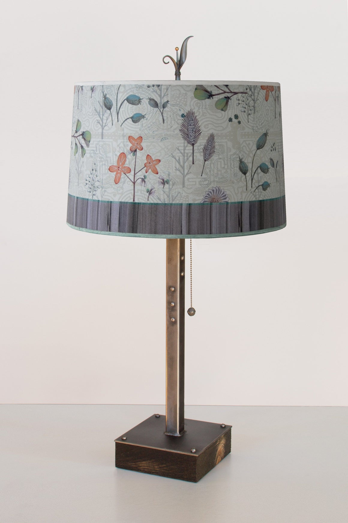 Steel Table Lamp on Wood with Large Drum Shade in Flora and Maze