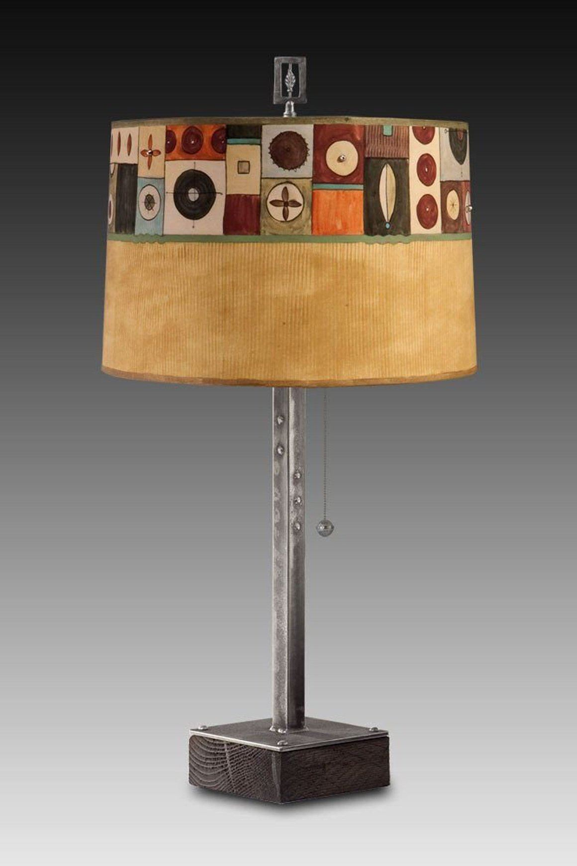 Steel Table Lamp on Wood with Large Drum Shade in Lucky Mosaic Hickory