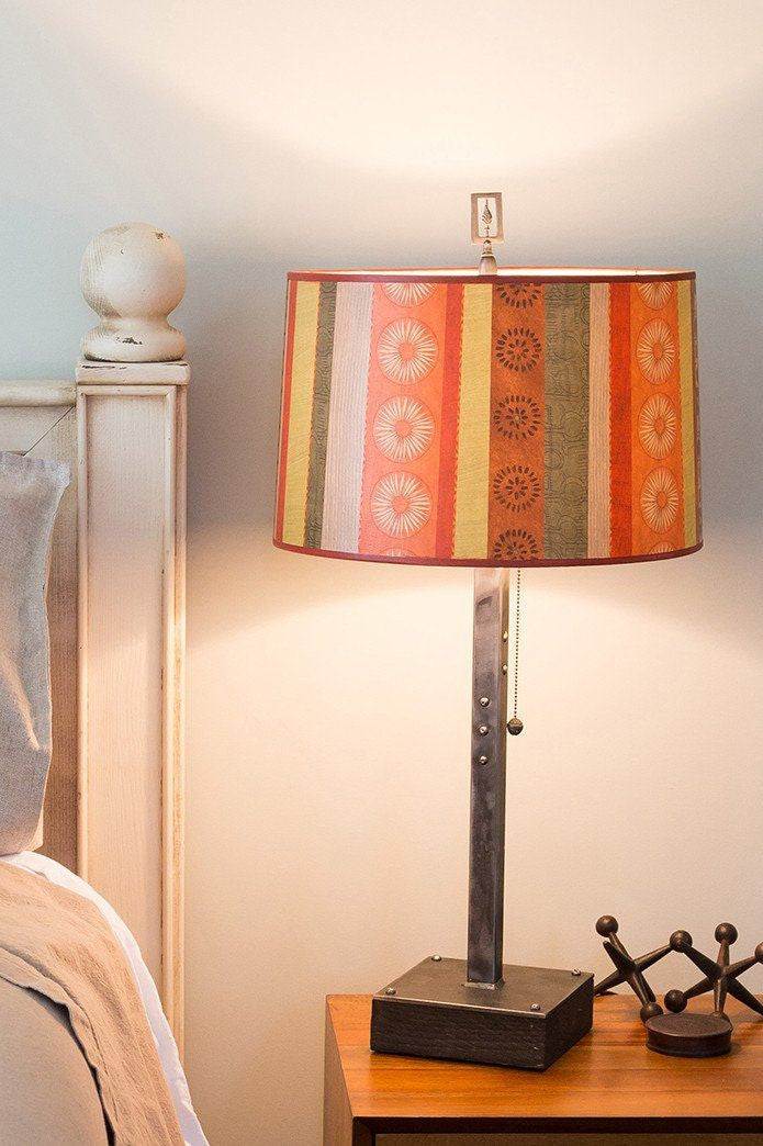 Steel Table Lamp on Wood with Large Drum Shade in Serape