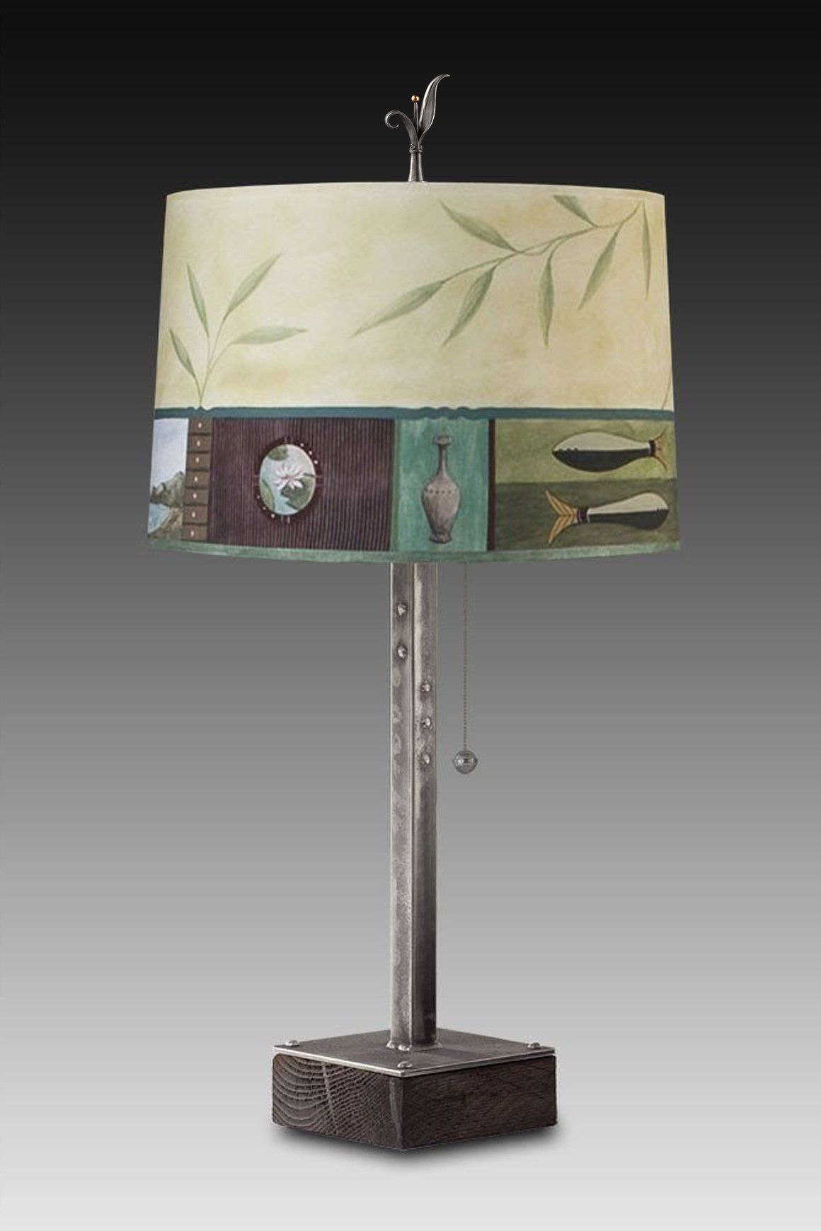 Steel Table Lamp on Wood with Large Drum Shade in Twin Fish