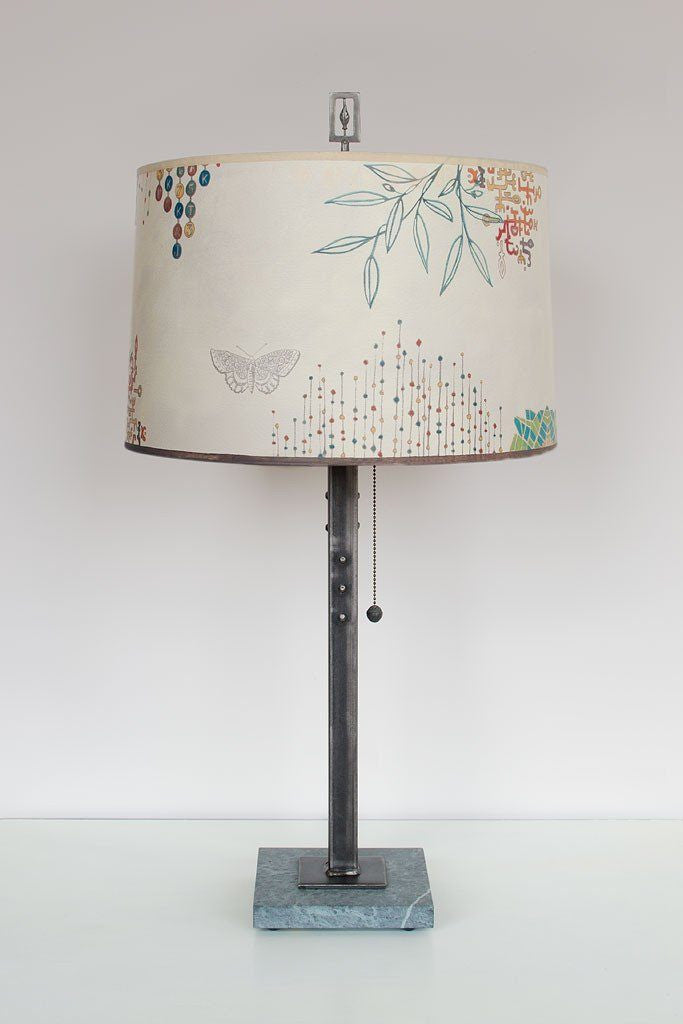 Steel Table Lamp on Marble with Large Drum Shade in Ecru Journey