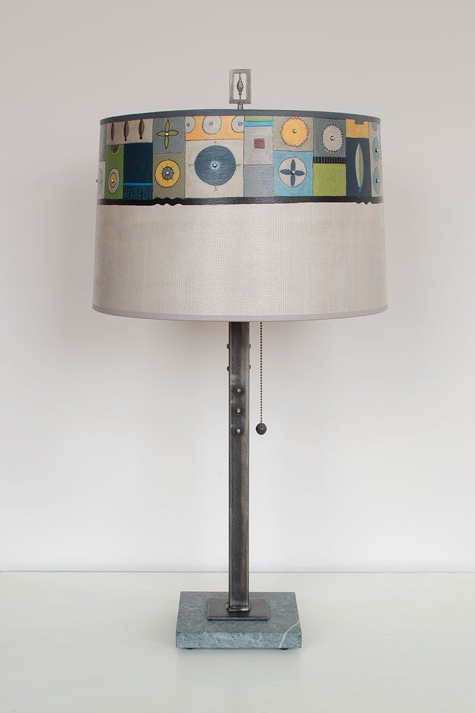 Steel Table Lamp on Marble with Large Drum Shade in Lucky Mosaic Oyster