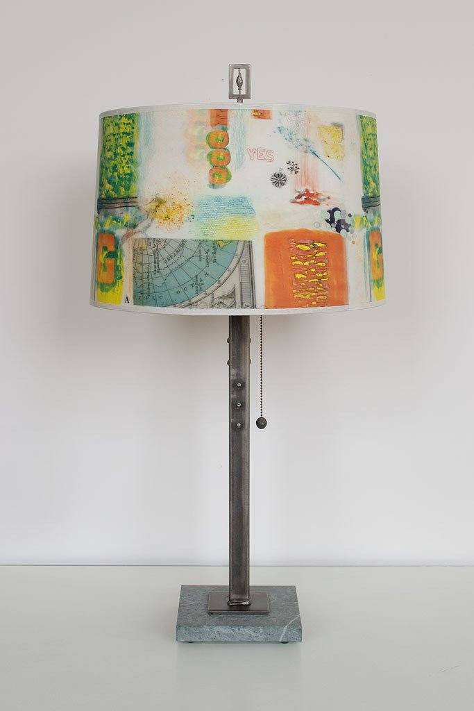 Steel Table Lamp on Marble with Large Drum Shade in Mix