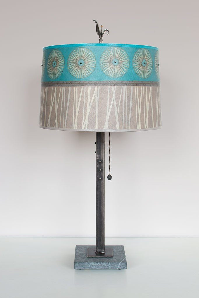 Steel Table Lamp on Marble with Large Drum Shade in Pool