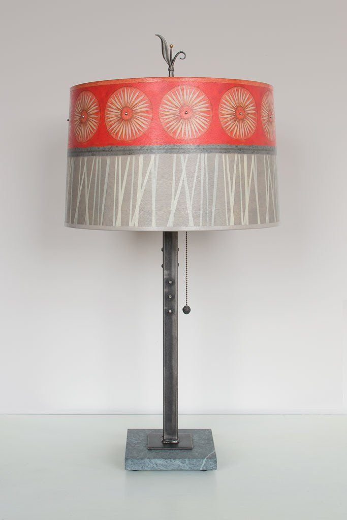 Tang Table Lamp with Large Drum Shade