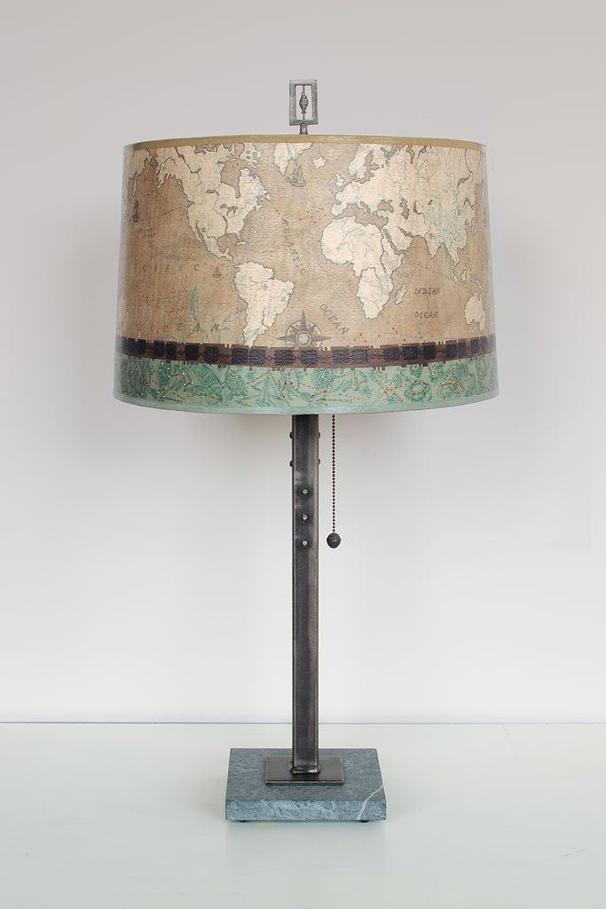 Voyage Sand Table Lamp with Large Drum Shade