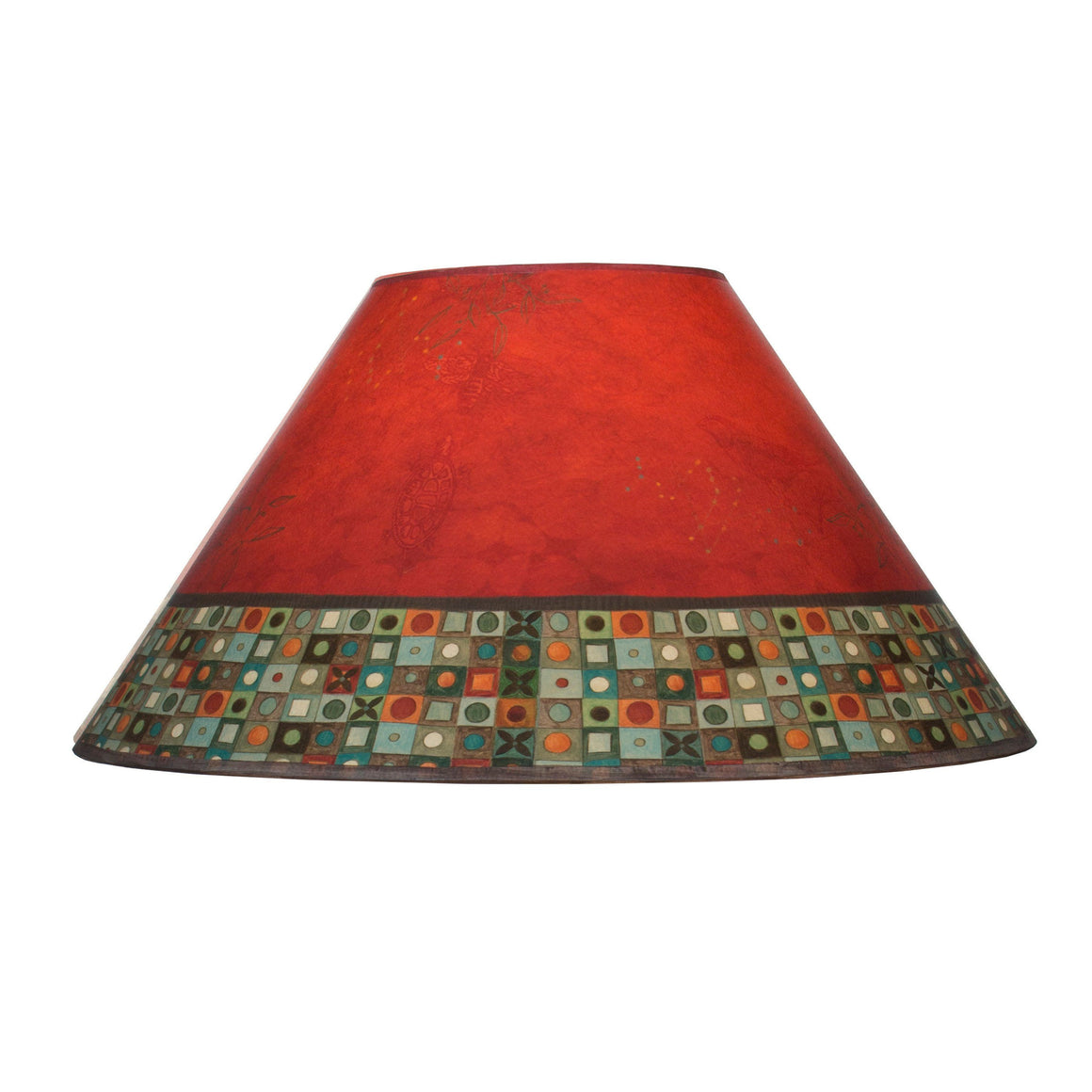 Large Conical Lamp Shade in Red Mosaic