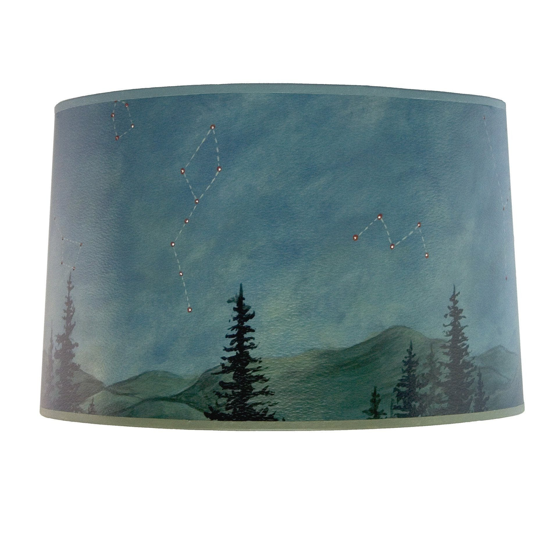 Large drum lamp shade in celestial leaf ugone thomas large drum lamp shade in midnight sky aloadofball Image collections