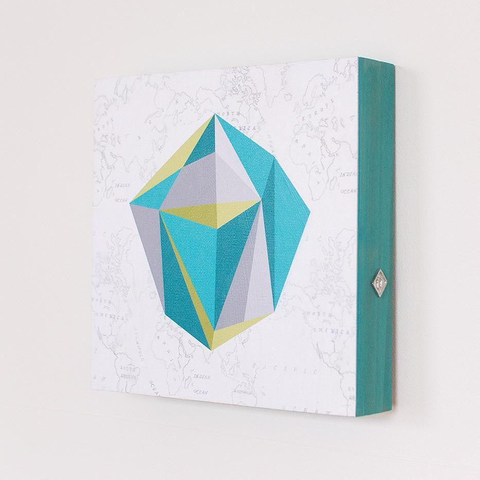 Small Square Wall Art in Faceted Gem