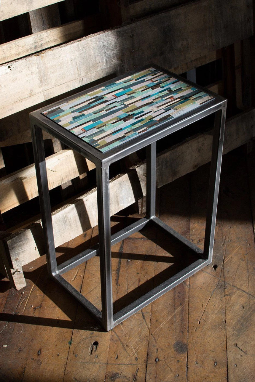 Small Steel Nesting Table in Papers