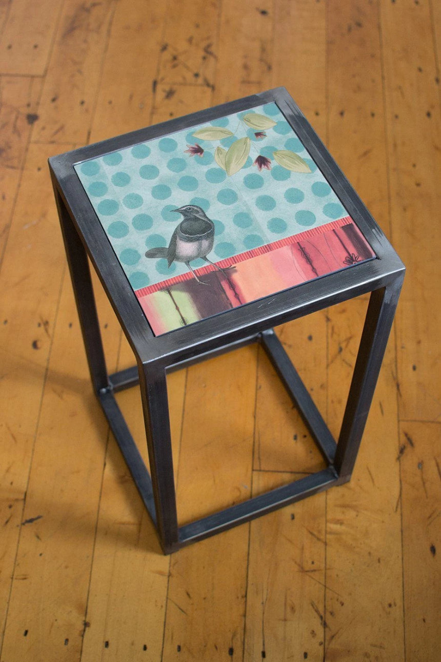 Square Steel Accent Table in Aqua Bird