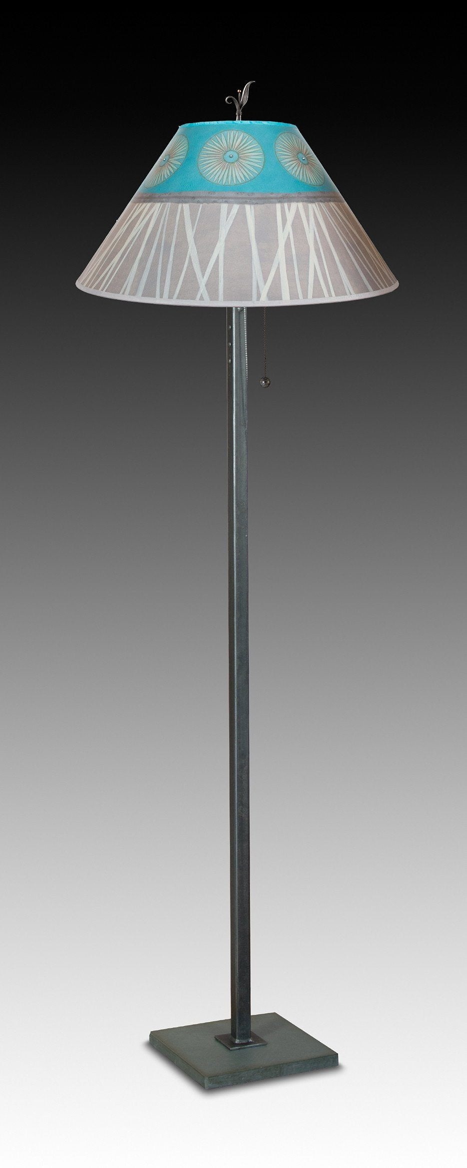 Steel Floor Lamp on Italian Marble with Large Conical Shade in Pool