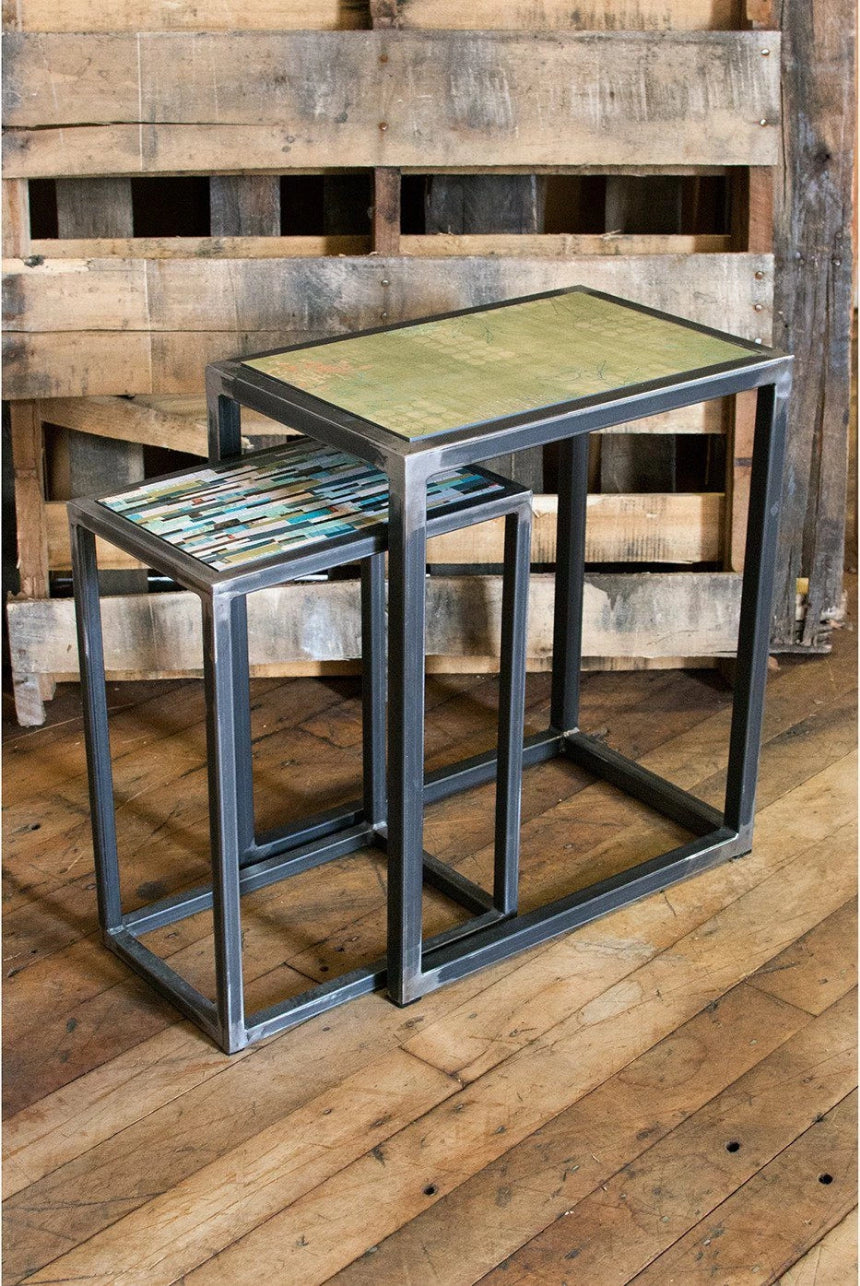 Steel Nesting Table Set in Apple Journey & Papers