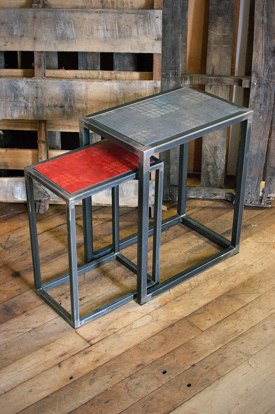 Steel Nesting Table Set in Red Journey & Graphite Journey