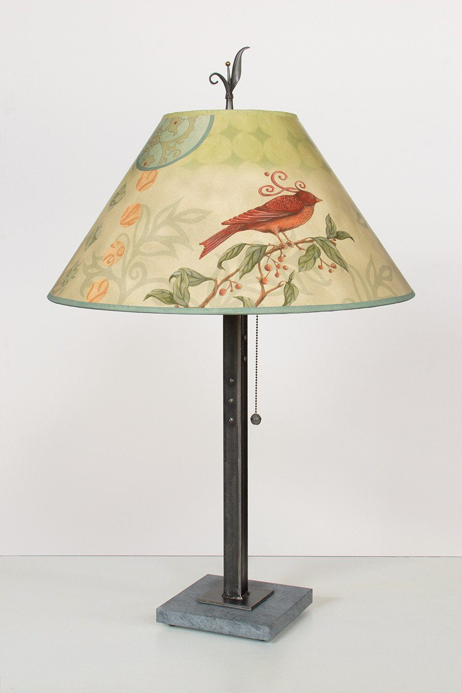 Steel Table Lamp on Italian Marble with Large Conical Shade in Birdscape