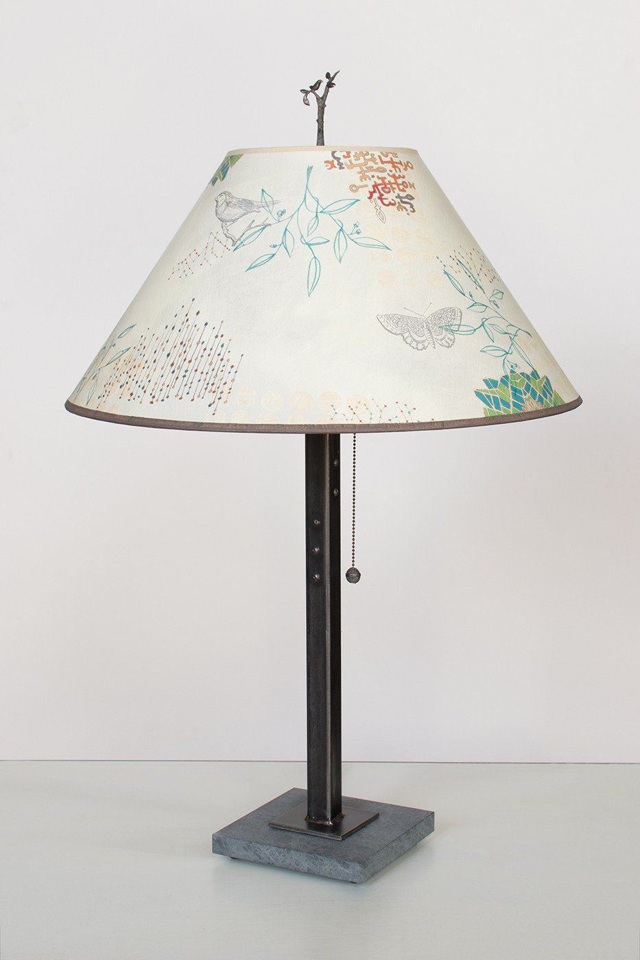 Steel Table Lamp on Italian Marble with Large Conical Shade in Ecru Journey
