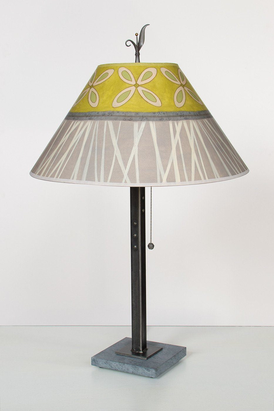 Steel Table Lamp on Italian Marble with Large Conical Shade in Kiwi