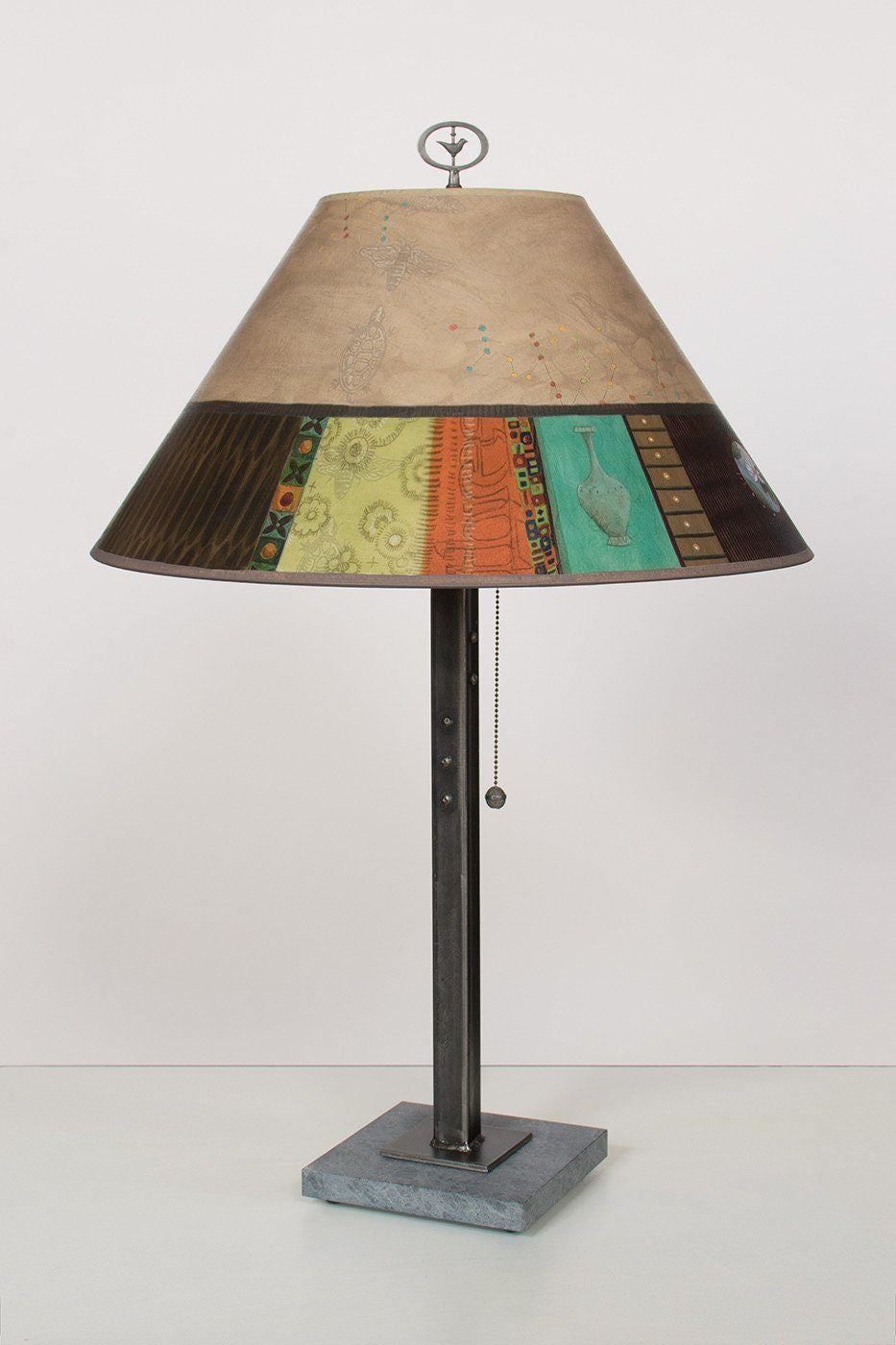 Steel Table Lamp on Italian Marble with Large Conical Shade in Linen Match