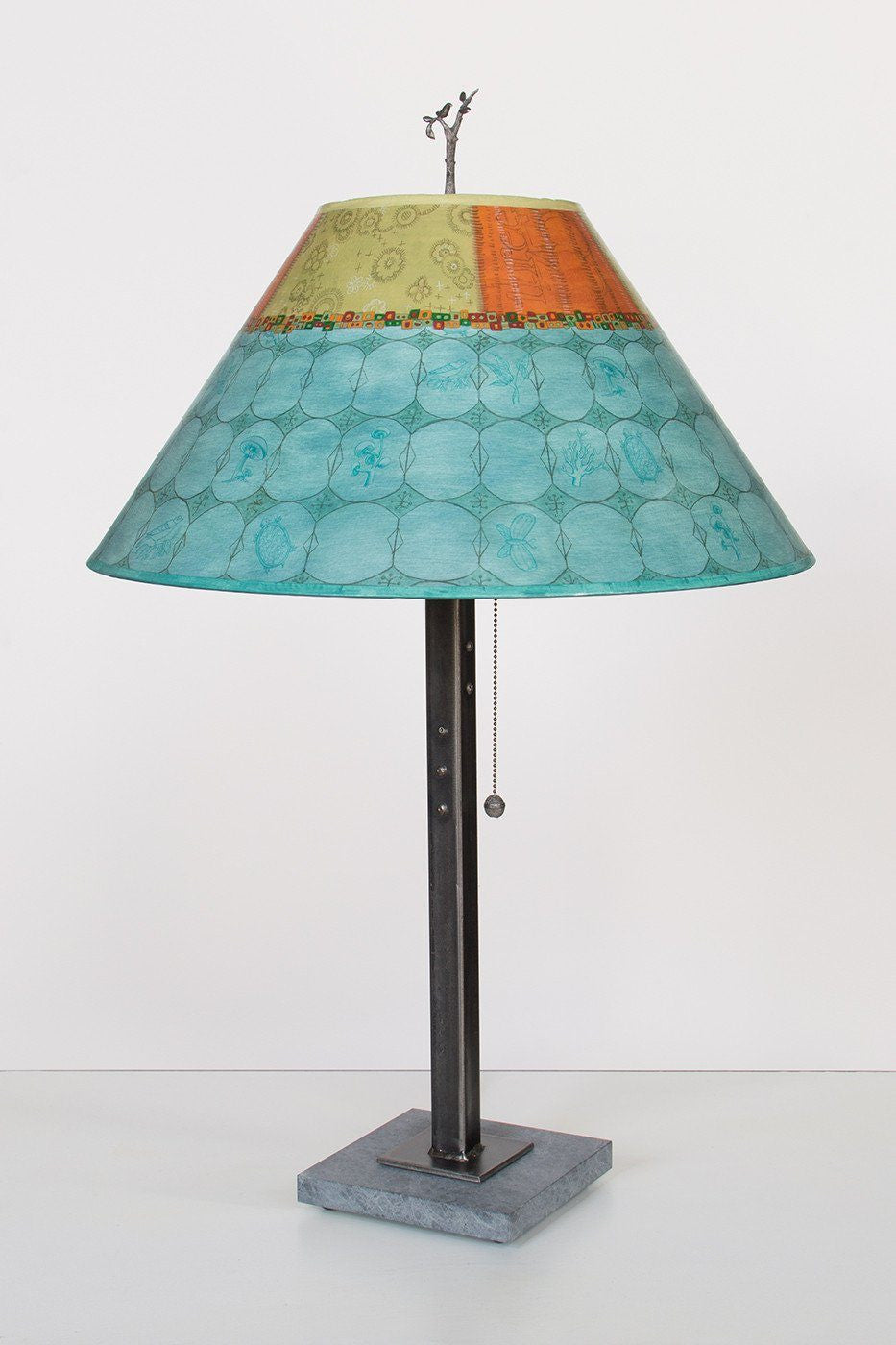 Steel Table Lamp on Italian Marble with Large Conical Shade in Paradise Pool
