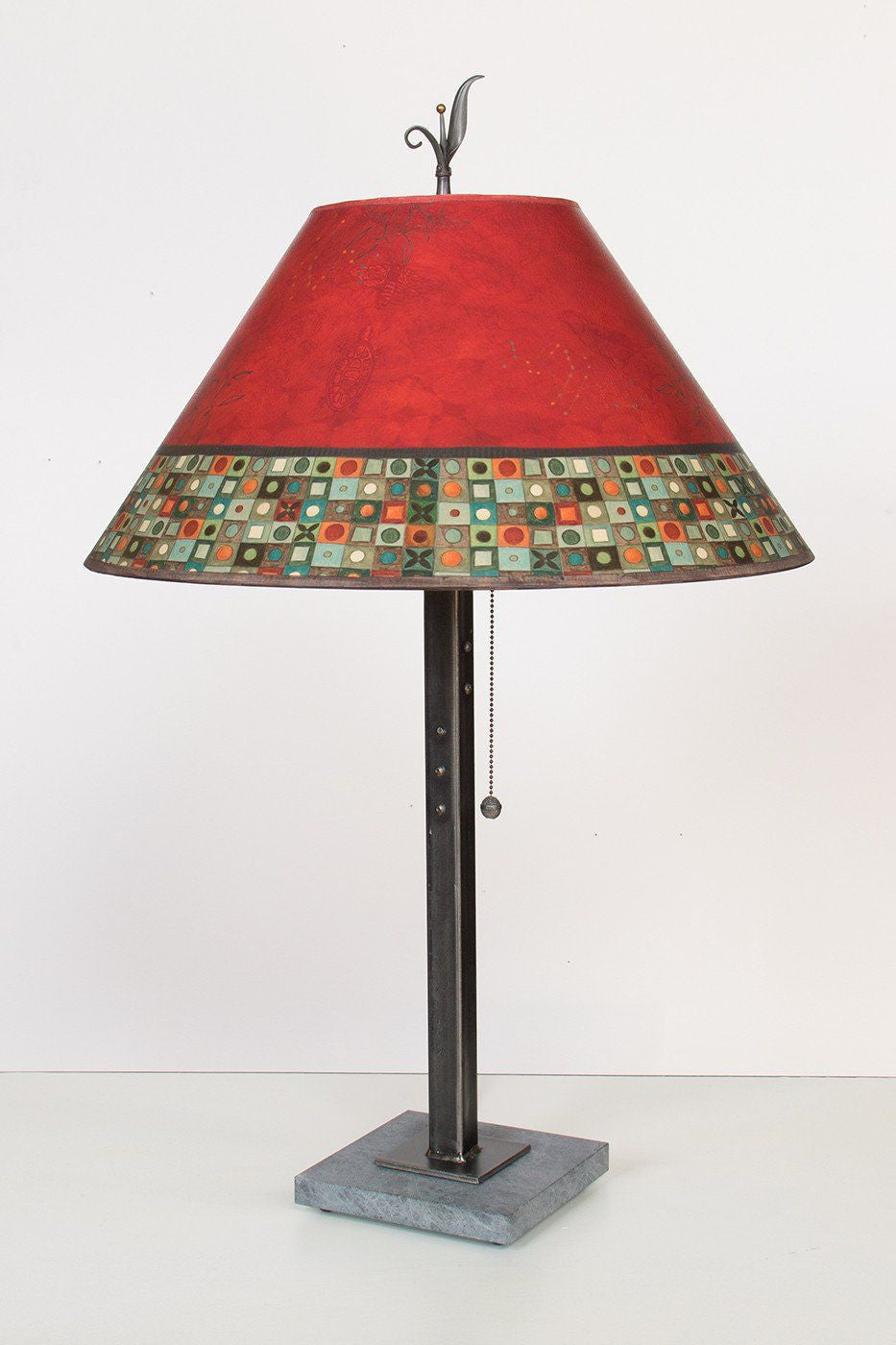 Steel Table Lamp on Italian Marble with Large Conical Shade in Red Mosaic