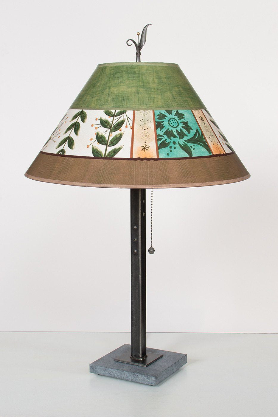 Steel Table Lamp on Italian Marble with Large Conical Shade in Spring Medley Apple