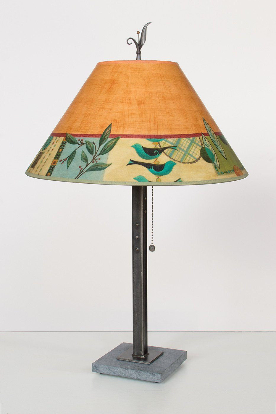 Steel Table Lamp on Italian Marble with Large Conical Shade in Spring Medley Spice