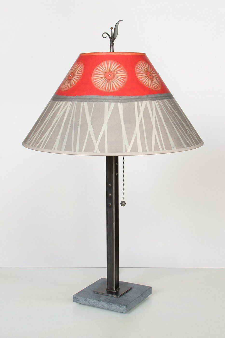 Steel Table Lamp on Italian Marble with Large Conical Shade in Tang