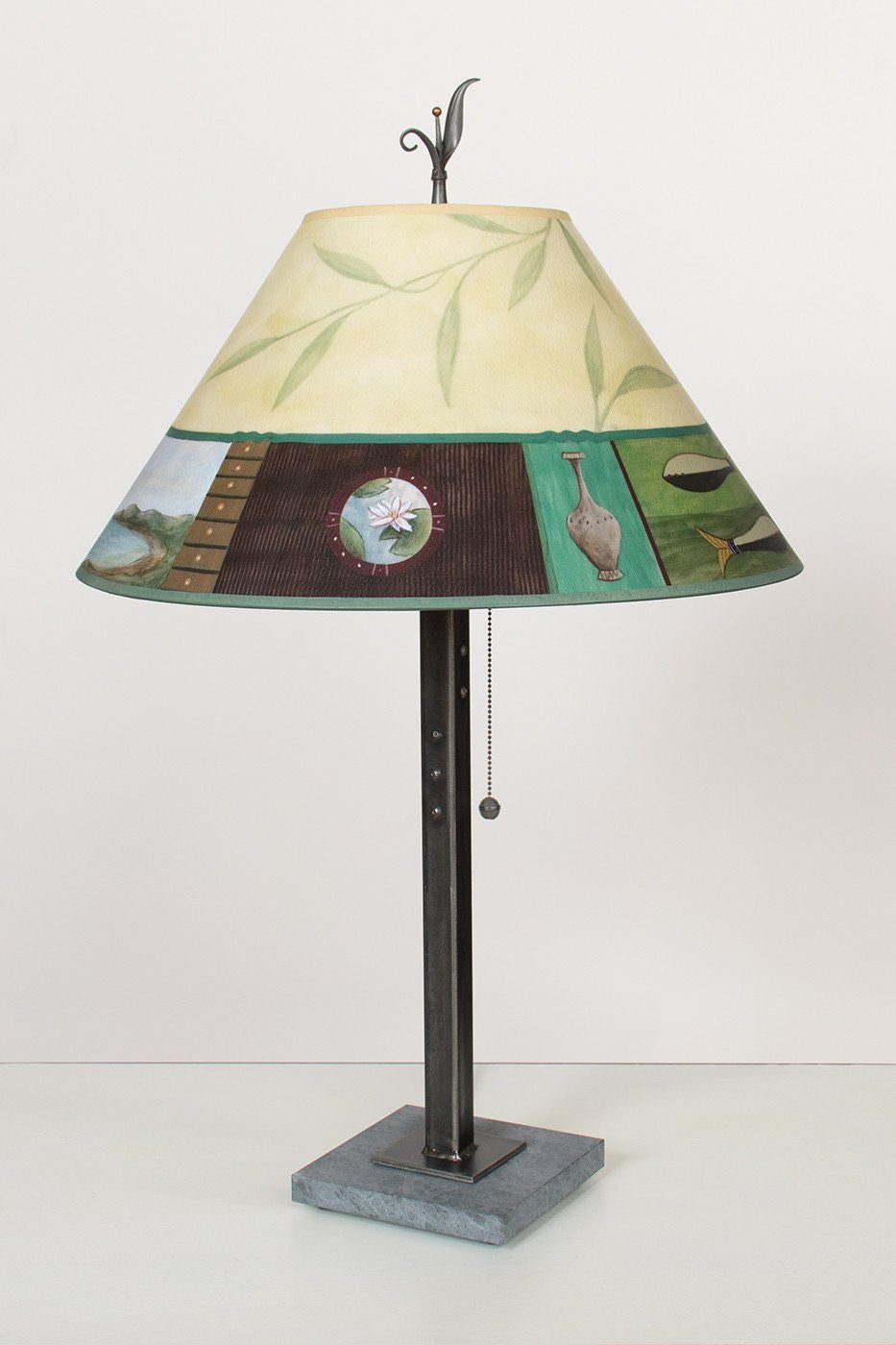 Steel Table Lamp on Italian Marble with Large Conical Shade in Twin Fish