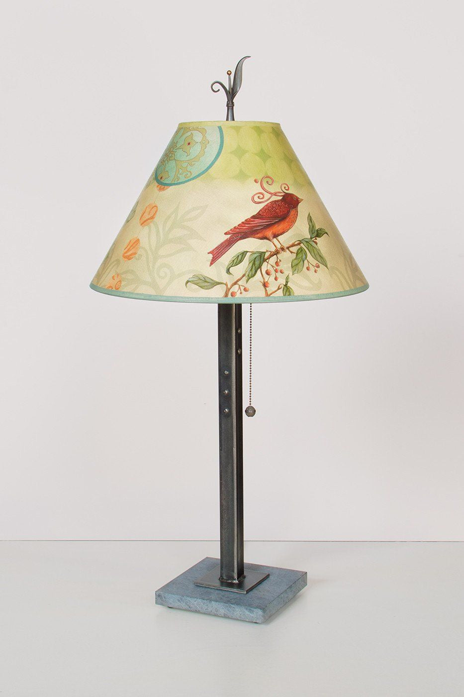 Steel Table Lamp on Marble with Medium Conical Shade in Birdscape - Lit