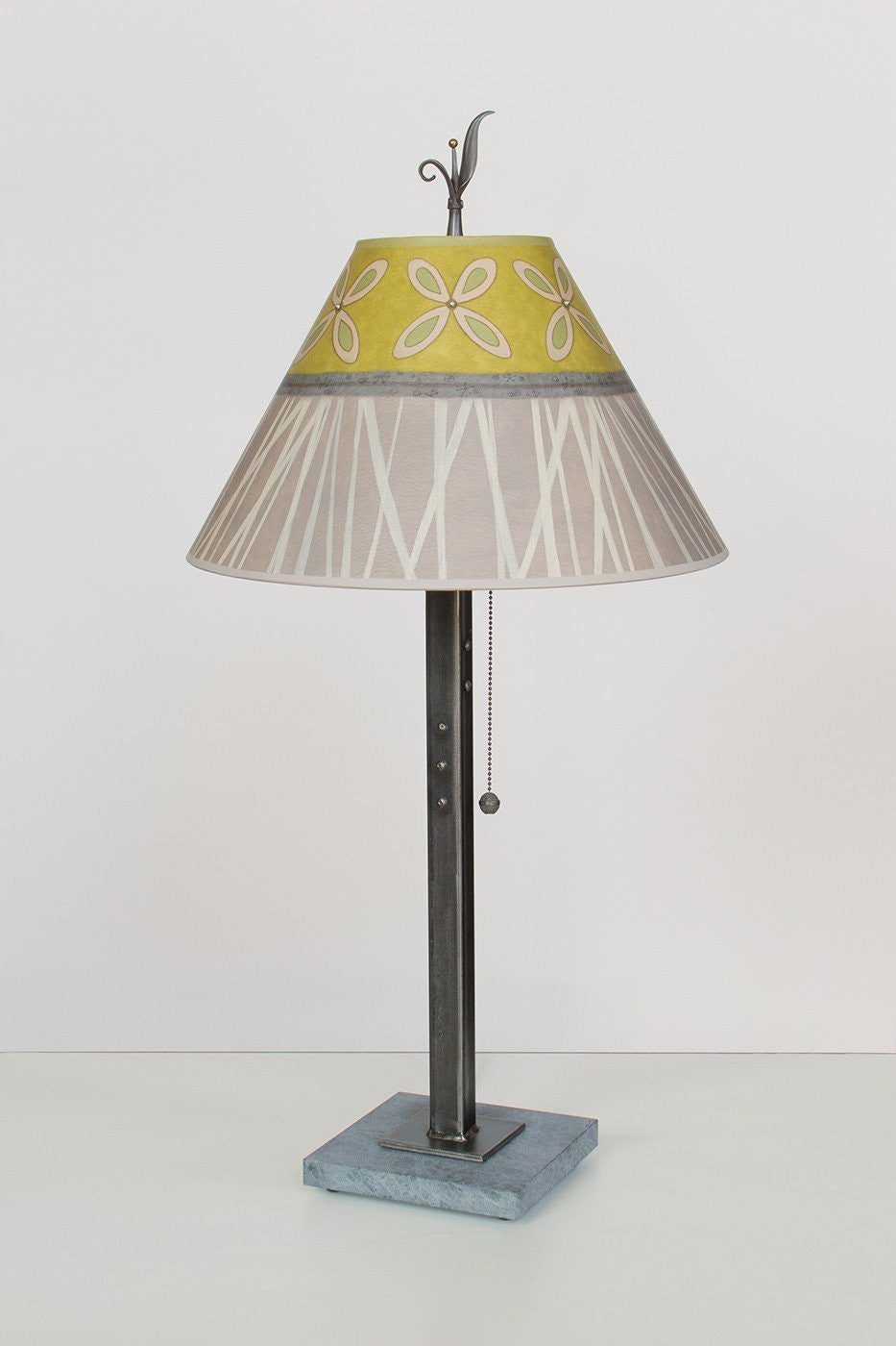 Steel Table Lamp on Marble with Medium Conical Shade in Kiwi - Lit