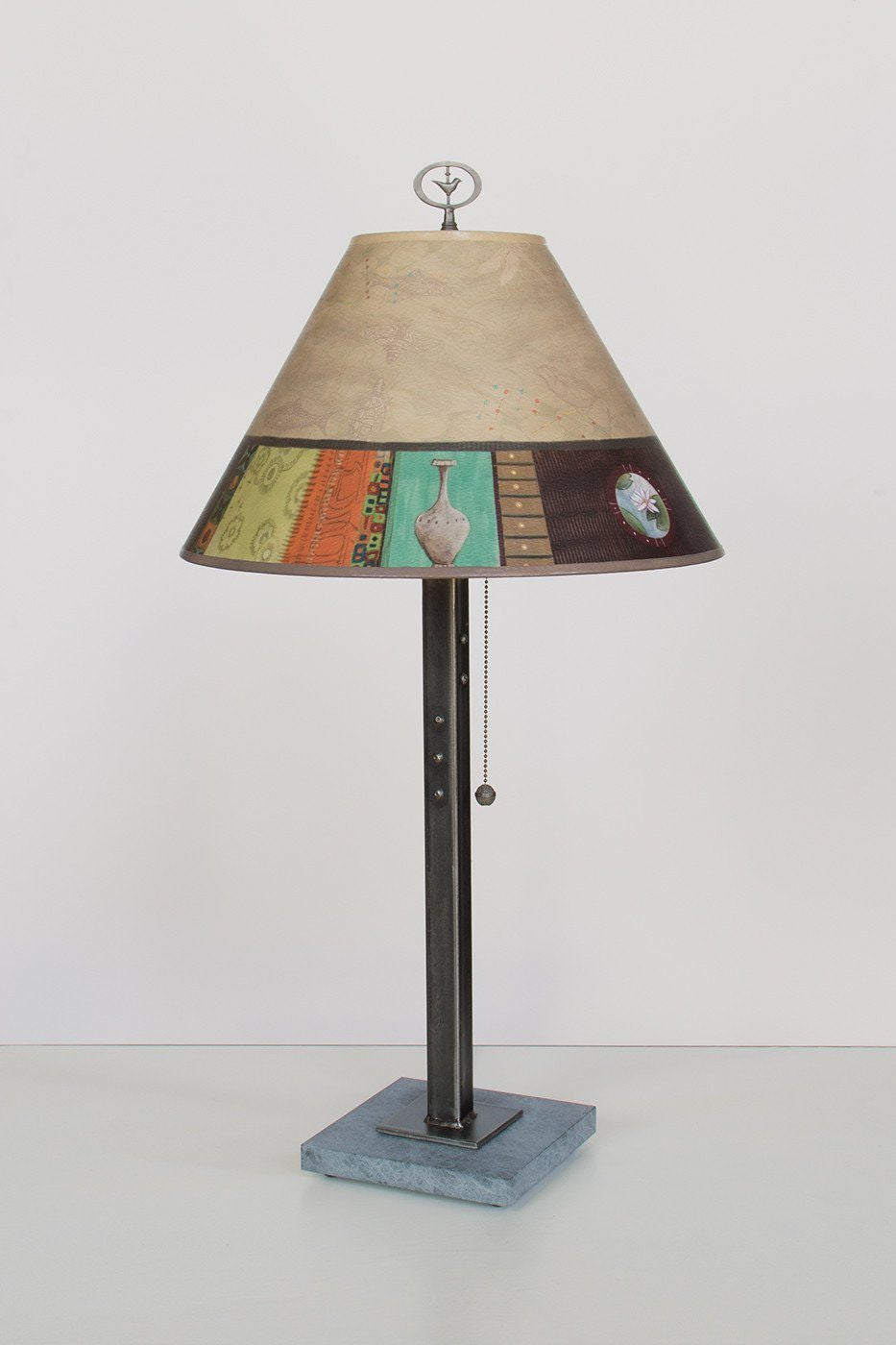 Steel Table Lamp on Marble with Medium Conical Shade in Linen Match Lit