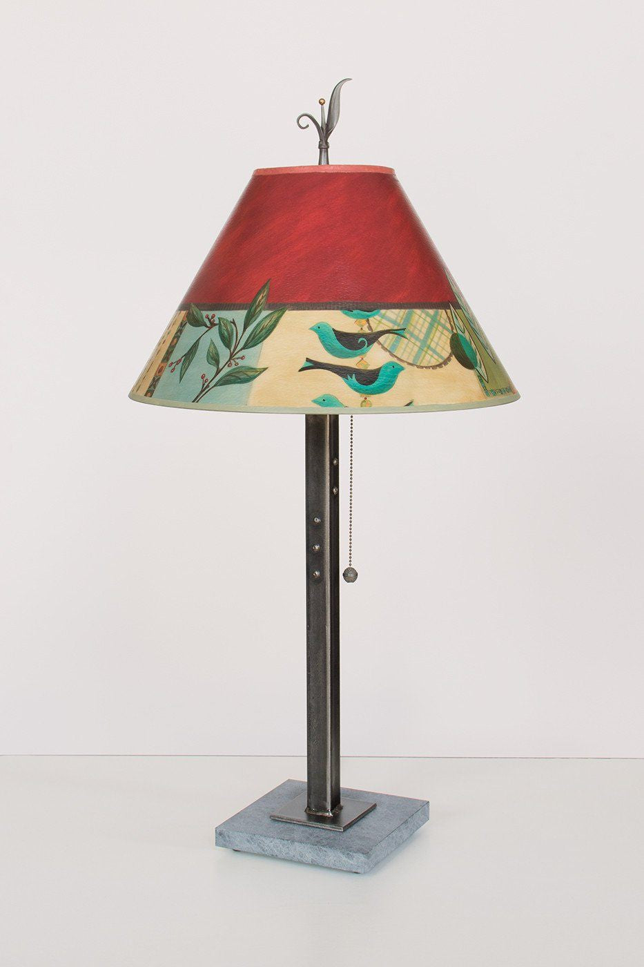 Steel Table Lamp on Marble with Medium Conical Shade in New Capri Lit