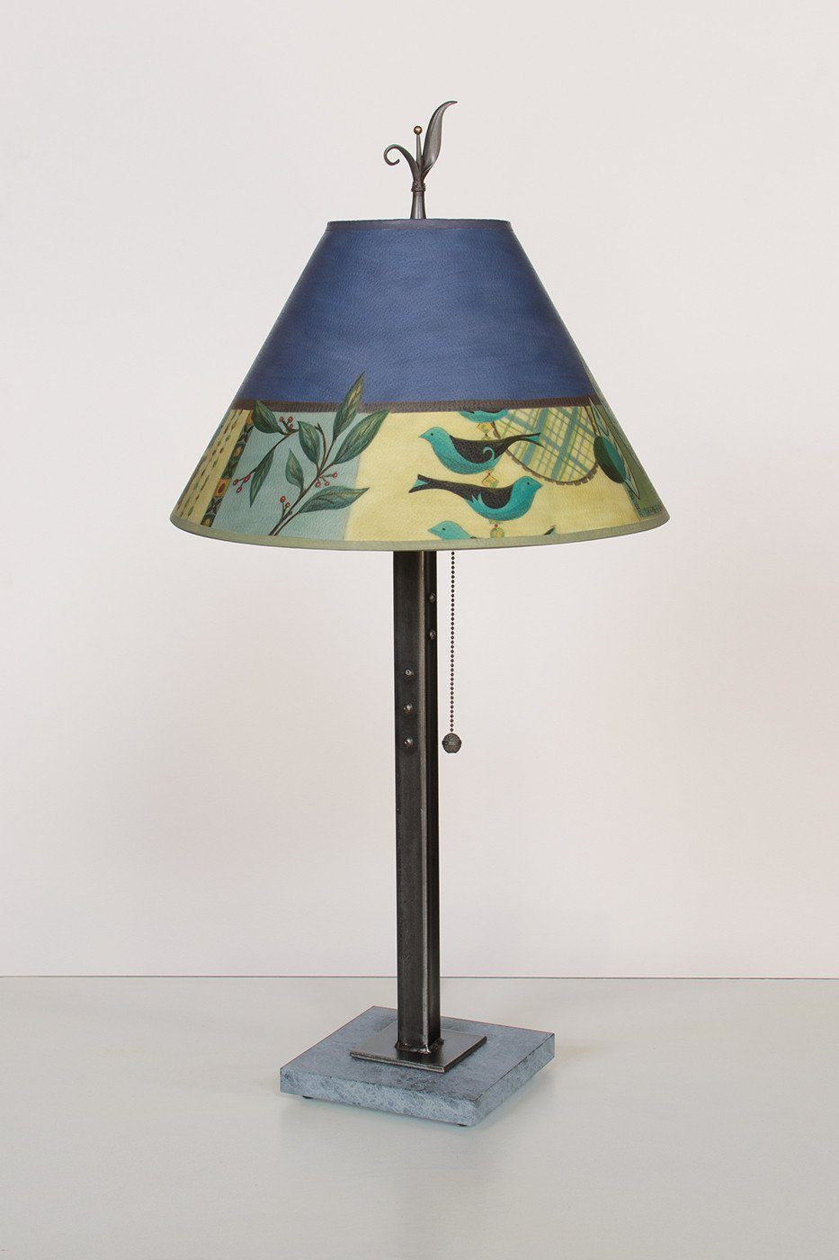 Steel Table Lamp on Marble with Medium Conical Shade in New Capri Periwinkle - Lit