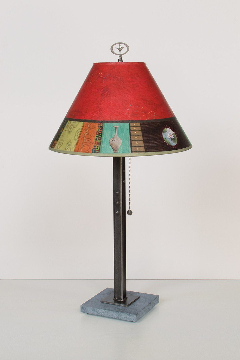 Steel Table Lamp on Marble with Medium Conical Shade in Red Match Lit