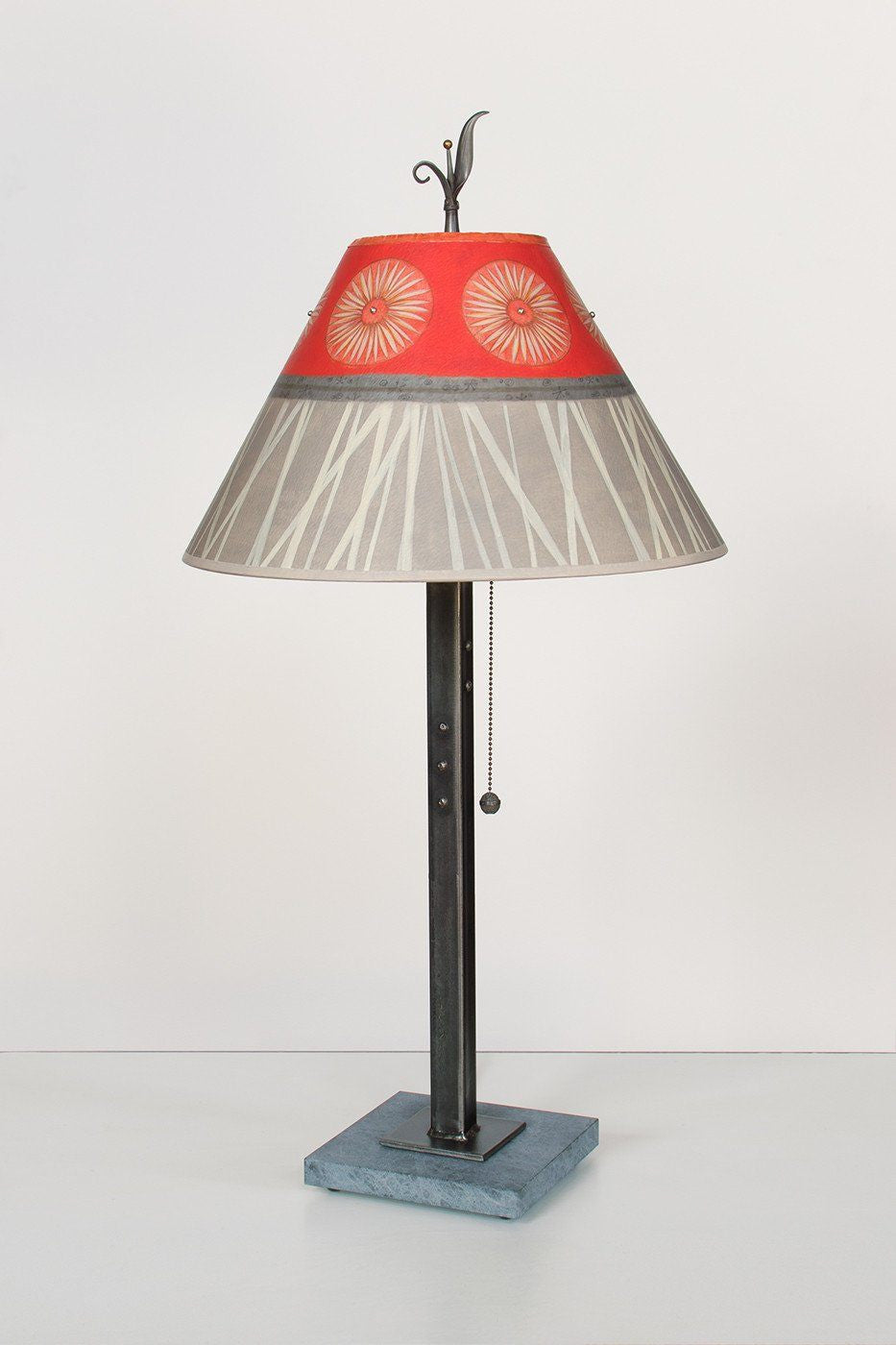 Steel Table Lamp on Marble with Medium Conical Shade in Tang Lit