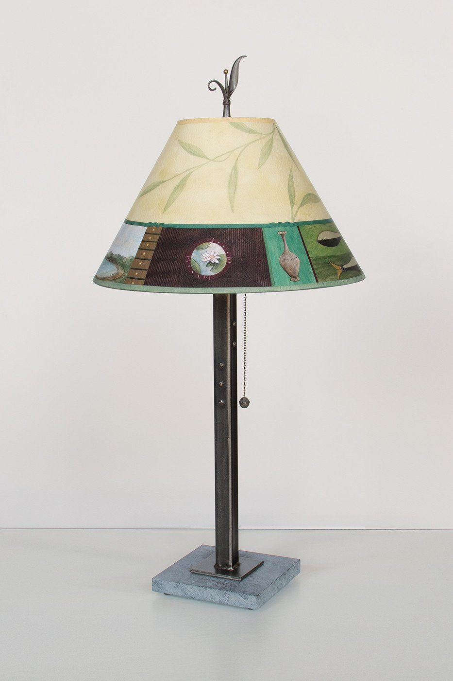 Steel Table Lamp on Marble with Medium Conical Shade in Twin Fish - Lit