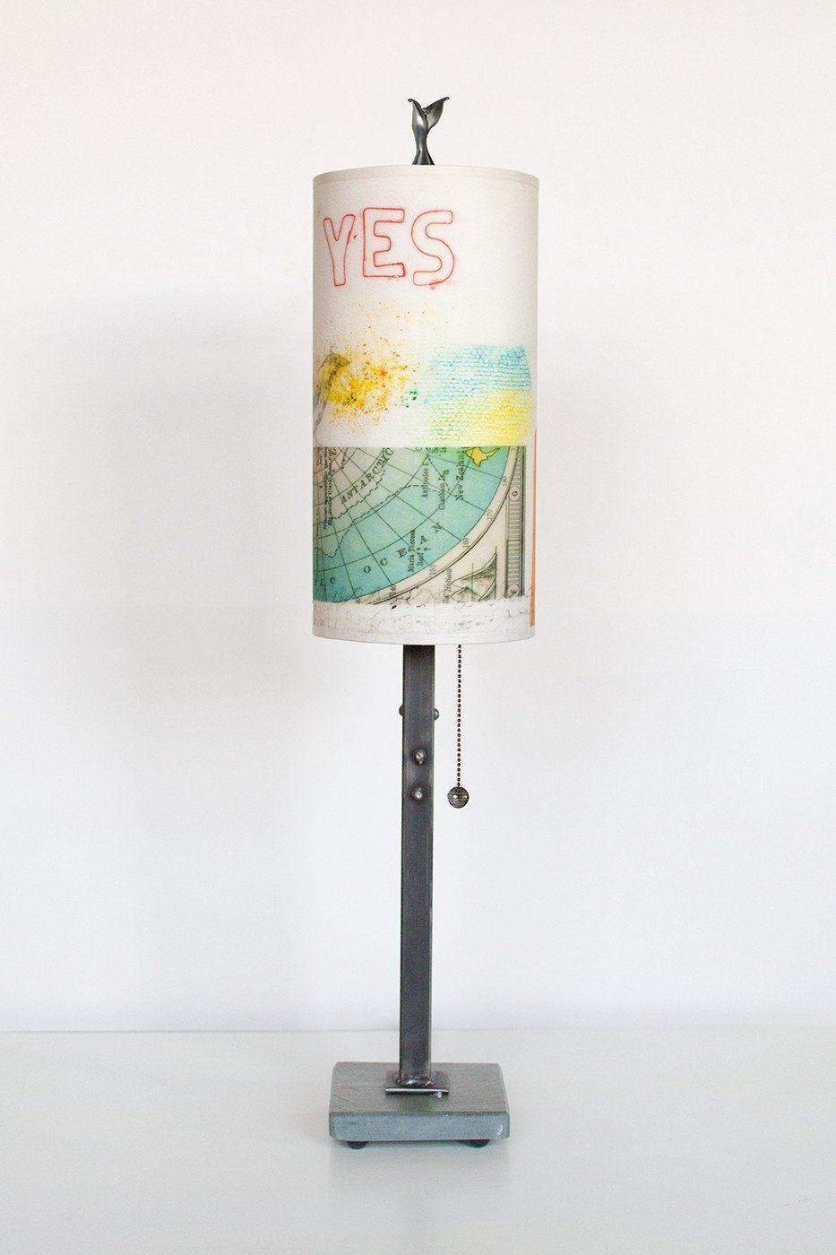 Steel Table Lamp on Italian Marble with Small Tube Shade in Mix