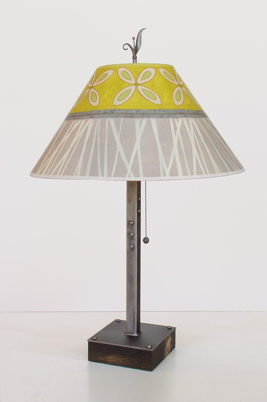 Steel Table Lamp on Wood with Large Conical Shade in Kiwi
