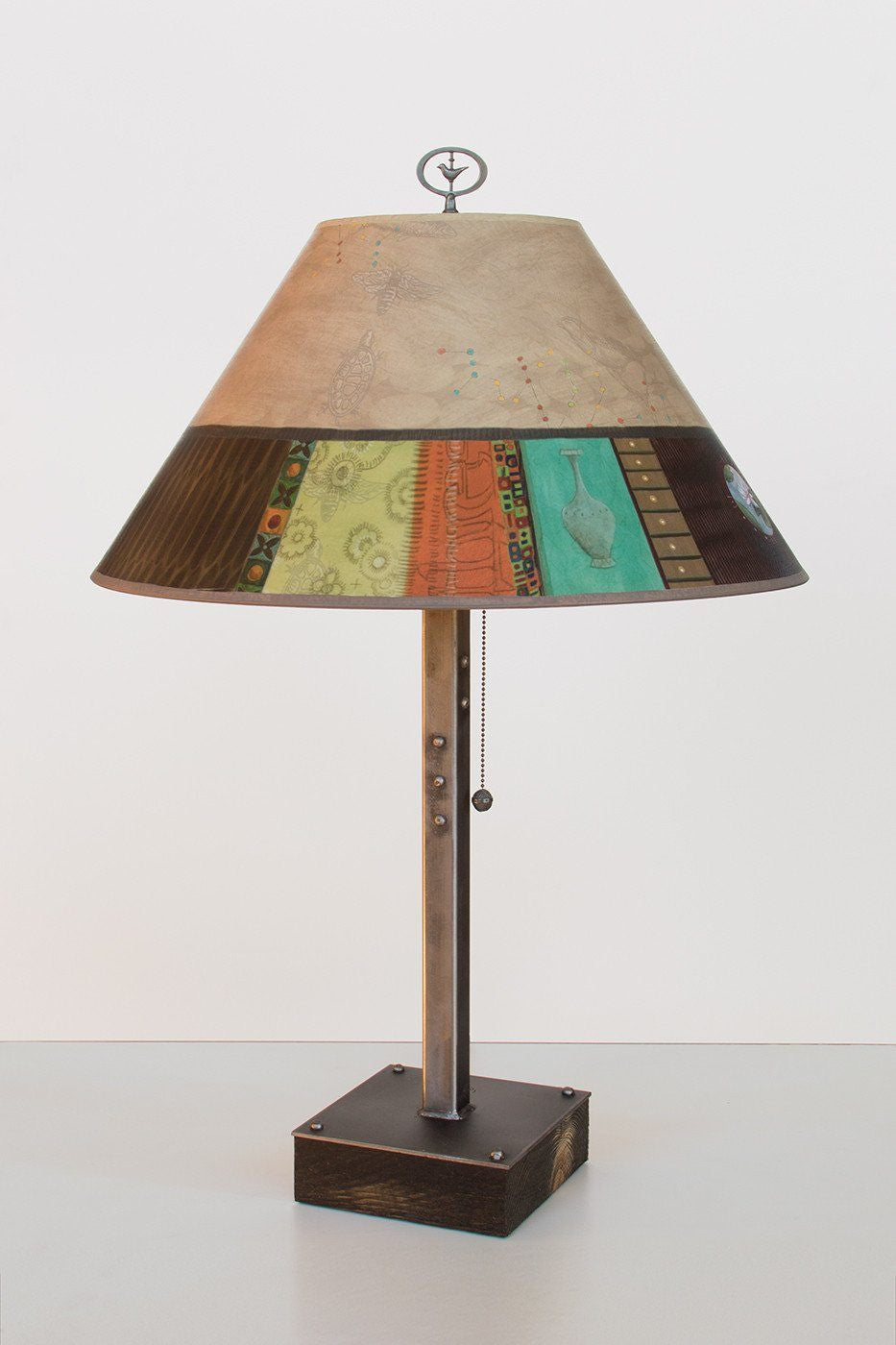 Steel Table Lamp on Wood with Large Conical Shade in Linen Match